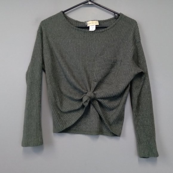 enough about me...Olive Tie Knot Waist Sweater